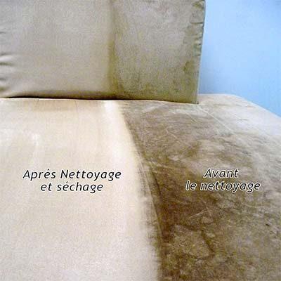 Nettoyage d'un canapé très tâché